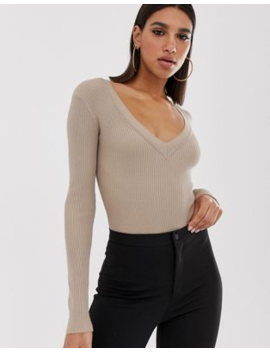 Missguided Plunge Knitted Body In Sand by Missguided