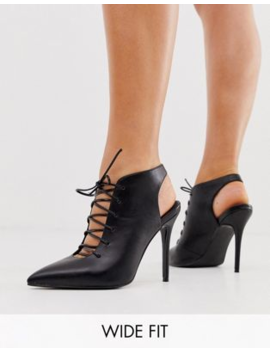 Asos Design Wide Fit Proud Lace Up High Heeled Shoe Boots In Black by Asos Design