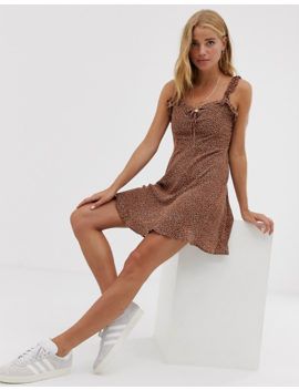 Pull&Bear Frill Detail Dot Printed Mini Dress In Tobacco by Pull&Bear