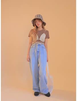 Folded Waist Wide Leg Jeans by Stylenanda