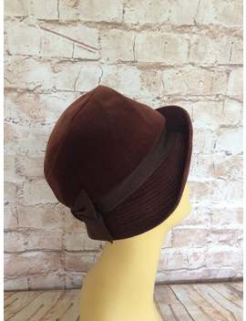 Vintage Cloche Hat In Brown Velvet With Gosgrain Band And Bow C1930 40s Small by Etsy