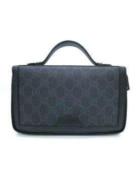 Auth Gucci Pouch Bag Travel Case Gg Supreme Canvas Leather Black 07160027100 K by Gucci