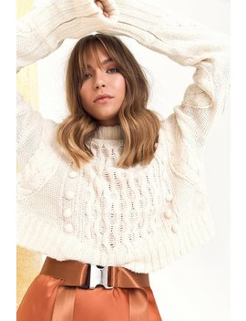 Pom Pom With The Wind Cable Knit Jumper by Nasty Gal