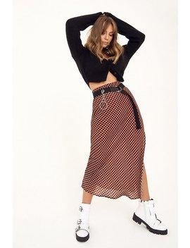 Checking On You Slit Midi Skirt by Nasty Gal