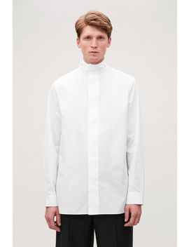 Cotton Shirt With Funnel Collar by Cos