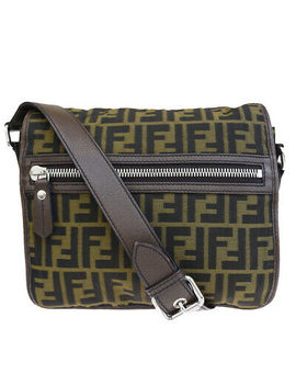 Authentic Fendi Zucca Pattern Shoulder Bag Nylon Leather Brown Italy 32 E211 by Fendi