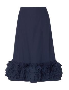 Nora Ruffled Cotton Poplin Midi Skirt by Molly Goddard