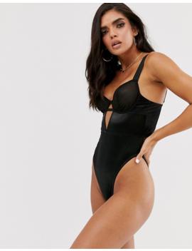 Asos Design – Adila – Bodysuit Aus Netzstoff Mit Bügeln In Metallic by Asos