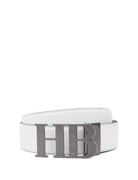 Reversible Leather Belt With Milled Monogram Buckle by Boss