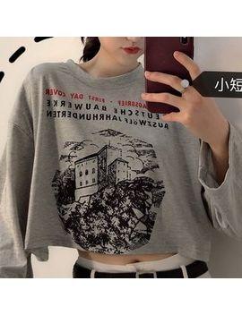 Moon City   Printed Long Sleeve Crop T Shirt by Moon City
