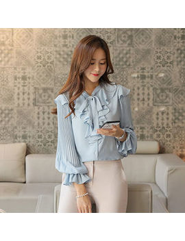 Click   Tie Front Pleated Sleeve Ruffled Blouse by Click