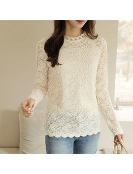 Click   Mock Neck Laced Top by Click
