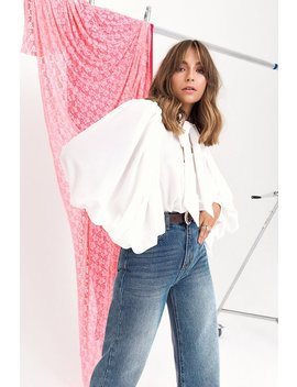 You Bow Off Balloon Sleeve Pussybow Blouse by Nasty Gal