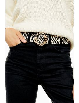Zebra Raffia Belt by Topshop