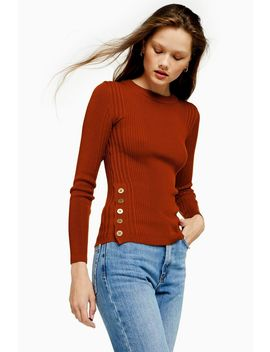 Button Side Knitted Top by Topshop