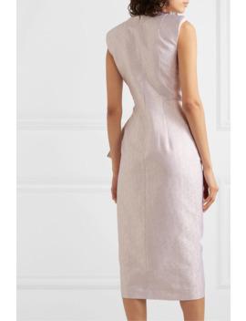 Draped Ruffled Lamé Midi Dress by Dries Van Noten