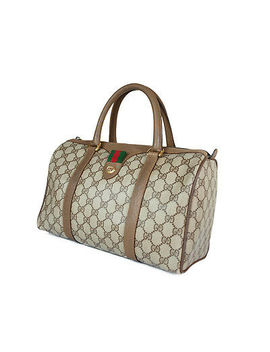 Gucci Vintage Gg Pattern Pvc Canvas Leather Browns Hand Bag Gh2137 by Gucci