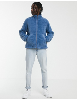 Asos Design Zip Through Borg Jacket In Blue by Asos Design