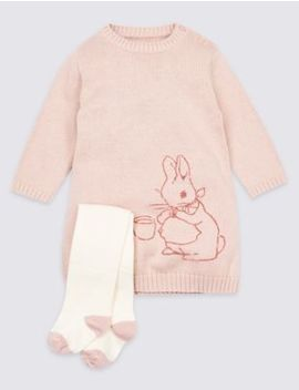 2 Piece Peter Rabbit™ Knitted Dress With Tights by Marks & Spencer