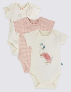 3 Pack Cotton Peter Rabbit™ Bodysuits by Marks & Spencer
