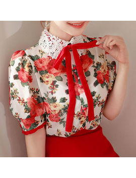 My Fiona   Lace Collar Frill Trim Floral Blouse With Tie by My Fiona