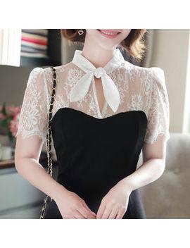 My Fiona   Tie Neck Lace Panel Ruffled Dress by My Fiona