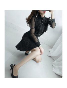 Gumzzi   Set: Frilled Detail Sheer Blouse + Melange A Line Skirt by Gumzzi