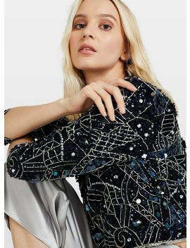 Navy Sequin Sophie Top by Miss Selfridge