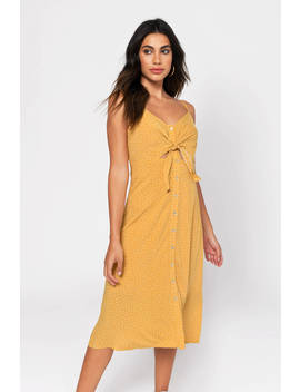 Late Summer Yellow Printed Midi Dress by Tobi
