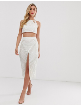 Asos Design Aztec Embellished Crop Top Co Ord With Lace Up Back by Asos Design