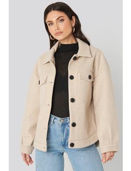 Front Pocket Oversized Jacket Beige by Na Kd