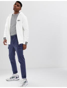 Adidas Originals Ryv Logo Print Hoodie In White by Adidas Originals