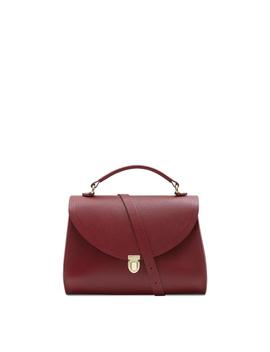 Poppy Bag In Leather   Rhubarb Red Saffiano by Cambridge Satchel