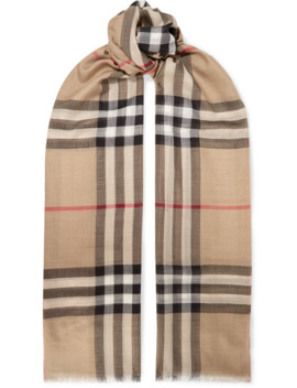 Frayed Checked Wool And Silk Blend Scarf by Burberry