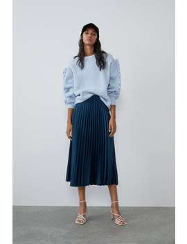 Pleated Satin Effect Skirt Midi Skirts Woman by Zara