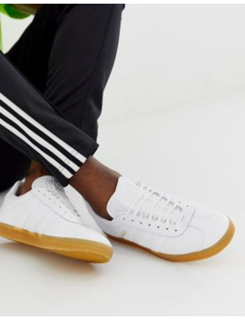 Adidas Originals   Gazelle   Sneakers In Pelle Bianche Con Suola In Gomma by Adidas Originals
