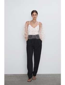 Semi Sheer Polka Dot Blousetops Woman by Zara