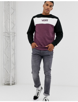 Vans Colour Block Sweatshirt In Burgundy/White by Vans
