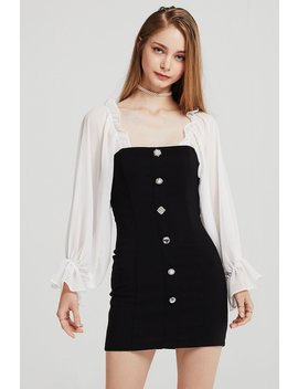 Alexis Jewel Button Dress W/ Frill Top by Storets