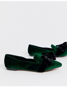 Asos Design Wide Fit Ludo Bow Pointed Ballet Flats In Green Velvet by Asos Design