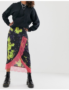 Asos Design Tie Dye Wrap Midi Skirt With Neon Lace Hem by Asos Design