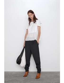 Maglietta PlissÉ Bicolore Tops Magliette Donna by Zara