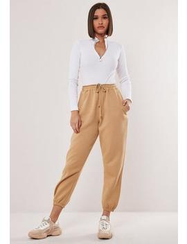 Petite Tan 90's Joggers by Missguided