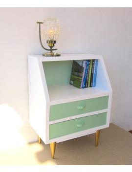 Mid Century Modern Cabinet, Fully Restored; Vintage Danish Style 1960s Bedside Table; Mint, White And Golden Nightstand by Etsy
