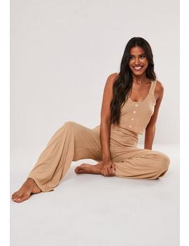 Camel Rib Vest Top And Wide Leg Trousers Pyjama Set by Missguided