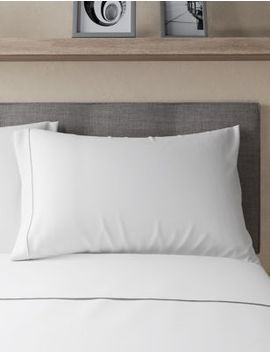Pure Egyptian Cotton 230 Thread Count Standard Pillowcase With Stay New™ by Marks & Spencer