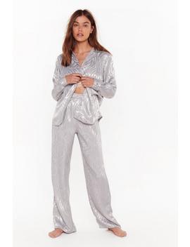 Not So Wild Zebra Satin Pyjama Shirt And Trouser Set by Nasty Gal