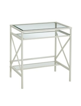 Holmes Metal/Glass Small Space Desk White   Aiden Lane by Aiden Lane