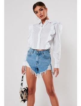 White Dobby Frill Cropped Shirt by Missguided