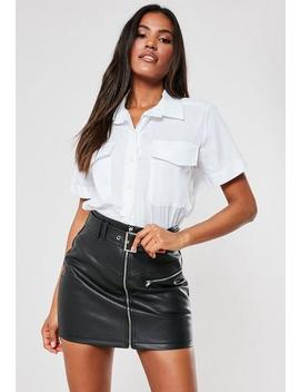 White Poplin Pocket Utility Shirt by Missguided